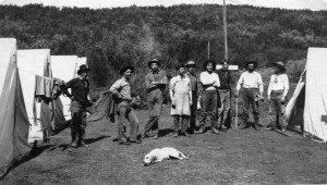 Forest Rangers at a backcountry camp, circa 1906. Far right, Howard Bald; next to him is Jacinto Reyes, then Bob Clark. Others unidentified.