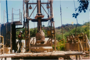 Well drilling in 1990 on the same ranch on Reeves Road shown above.
