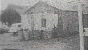 Back door of Ojai Realty, to the left of The Hub, on this same site since 1917 when the front of the Arcade was begun. Previously, the Ojai State Bank stood here. (photo, circa 1950s, courtesy of Alan Rains)