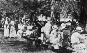 "This photo is of the first ""Ojai Day"". It was held in Civic Center Park (now, Libbey Park) on April 7, 1917."