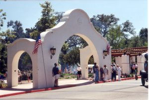 Celebration of the newly rebuilt pergola with fountain, July 4, 1999 .
