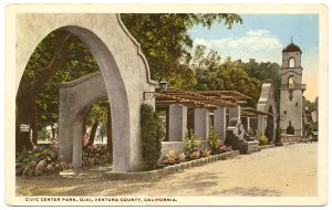 Colorized post card of the pergola with fountain.