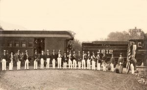 "On March 12, 1898, the train made its first trip to the Ojai Valley. The train was met with a ""lively blare of trumpets"" in Nordhoff. The Ojai Band and the Ventura Band each played for the welcoming crowd."